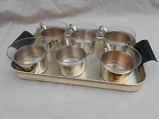 Altes Tee Service Teeglas Teetassen Groggläser + Tablett DDR