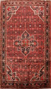 Vintage Geometric Traditional Hossainabad Area Rug Hand-knotted Wool Carpet 5x8