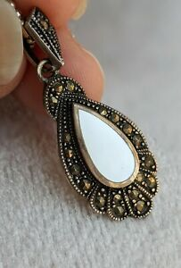 Art Deco Style Sterling Silver Vintage Marcasite, Mother Of Pearl Pendant