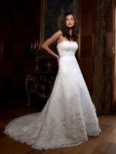 CASABLANCA BRIDAL $1399 SZ10 2010 WHITE FRENCH LACE EMPIRE A-LINE WEDDING DRESS