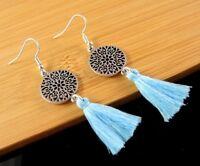 Bohemian Pair of Tibetan Style Light Blue Cotton Tassel Dangle Earrings #1337