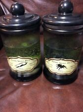 "SET OF 2 LIGHTED Glass Jar  Witches Elixir  Potion 7"" x 4""Fingers/Spiders NEW!"