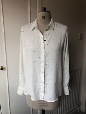USED | Mango White Polka Dot Shirt | Size Small