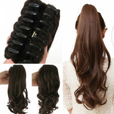 Wavy Ponytail Clip in Human Hair Extension Claw Pony tail Clip on Extensions