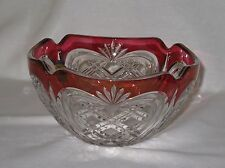 VINTAGE FOSTORIA CRYSTAL CUT GLASS RUBY RED/CLEAR SERVING BOWL ~ NEW