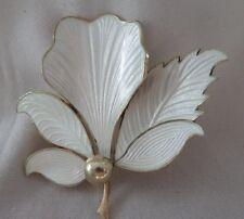 Jensen Norway Sterling Guilloche Enamel Leaf Brooch Silber Blatt Brosche