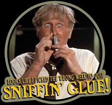 """80's Classic Airplane! McCroskey """"Wrong Week To Quit Sniffin' Glue"""" custom tee"""