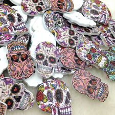100pcs Skull Head Wood Buttons 22*27mm Sewing Craft Mix Lots WB243