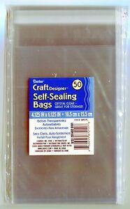 10-TEN Pk Crystal Clear Self-Sealing Bags 50ct. 4x6 Quilling-Scrapbook-Storage -