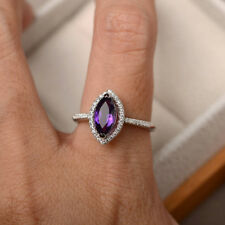 14K White Gold 1.95 Ct Natural Diamond Marquise Cut Real Amethyst Ring Size N M
