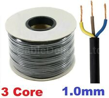 Tambor de Metro 100m 1.0mm Negro 240v 3 Core Cable Flexible De Pvc Carrete de Alambre Redondo 3183Y Reino Unido