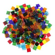 500pcs Multicolor Clear Square Glass Pieces Mosaic Tiles for Crafts 10x10mm