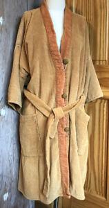 "VTG 1970s terry cloth Robe Orange Gold ""BIG LEBOWSKI"" Belt Pockets OSFM - AS IS"