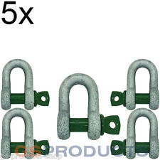 5x 0.75 tonnes Galvanised Steel Green Screw Pin Safety D Shackle Free P+P!