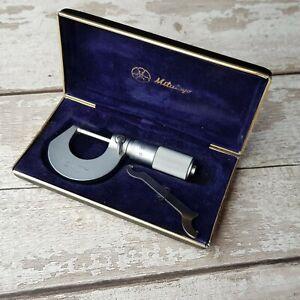 Vintage Mitutoyo 101-107 Micrometer 0-25mm in Hard Case - Made in Japan