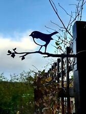Robin On Branch Bird Silhouette Metal