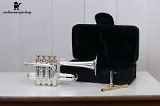 Professional Piccolo Trumpet Silver Plated with Hard case And Mouthpiece