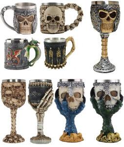 Stainless Steel Halloween Skull Tankard Beer Coffee Tea Wine Drinking Mug Goblet
