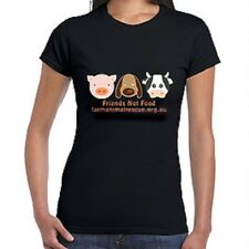 "1 Farm Animal Rescue ""Friends Not Food"" ladies shirt VEGAN"