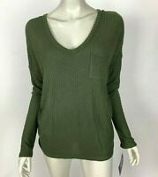Chaser LA Solid Green Long Sleeve V-Neck Thermal Top Shirt Stretch Women M NWT