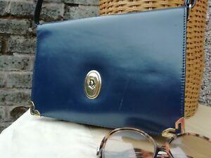 Vtg Original 80s Christian Dior Navy Blue Original Leather Satchel Shoulder Bag.