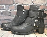 Womens Clarks Black Leather Zip Up High Heel Ankle Boots UK 6.5 D EUR 40