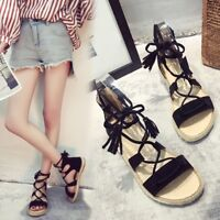 Women Gladiator Ankle Strappy Flats Open Toe Sandals Shoes Summer Beach Size 8
