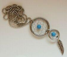 Dreamcatcher Necklace Pendant - Blue Stone Plus Mini Dream Catcher - Valentines