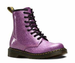 Dr Martens 1460J 1460Y Delaney Dark Pink Coated glitter 8 eyelet boot