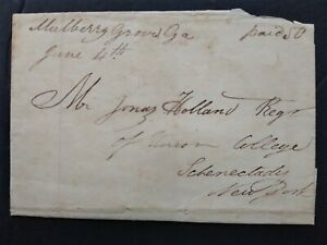 Georgia: Mulberry Grove 1830 (circa) Stampless Cover, Ms 50c Rate, DPO Harris Co