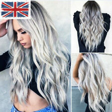 UK Womens Fashion Ash Black Wig Long Curly Hair Wig Lolita Cosplay Headgear Grey