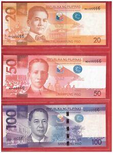 PHILIPPINES 20 50 & 100 peso NGC Aquino Solid No. Banknote 3 pcs 666666 UNC