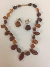 Vintage Natural Baltic Amber necklace & earrings 1/20 14kt clips on earrings
