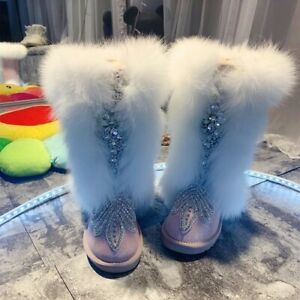 Fox Fur High-tube Snow Boots with Rhinestones Handmade  Real Leather Warm Boots