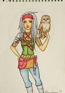 Original Kunstwerk Fantasie Eco Krieger Mädchen Mit Eule Von Mortimer Sparrow