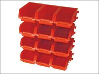 Faithfull FAIPAN12 12 Plastic Storage Bins with Wall Mounting Rails