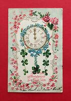 Prägedruck Glückwunsch Litho AK NEUJAHR 1905 Uhr Wanduhr mit Blumen  ( 56914