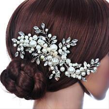 Bridal Wedding Hair Comb White Crystal Fauxl Pearl Headpiece Women Hair Clip NEW
