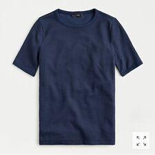 J Crew Women's L Navy Short Sleeve Waffle Knit T Shirt