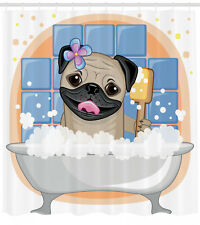 Pug Shower Curtain Dog Bath Caricature Funny Print for Bathroom 70 Inches Long