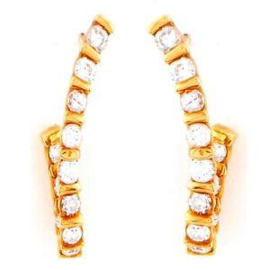 1.10ct  Diamond Earrings 14k gold  in a looped line drop brilliant cut