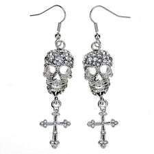 Skull cross dangle earrings women girls biker bling jewelry gifts EM35 silver