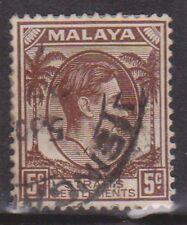 (K109-126) 1937 Malaya 5c brown KGVI (EM)