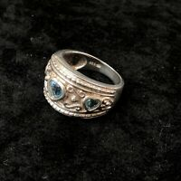 Vintage Heart Ring 925 Sterling Silver Size 9 - Blue Stones Crown Large