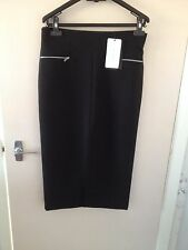 BNWT ZARA Black Front Split Skirt with Zips Size L
