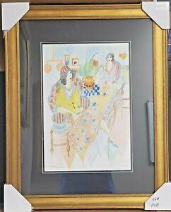 "Tarkay Original Watercolor ""Afternoon Tea"""