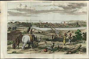 Masulipatam India Machilipatnam Krishna elephants ships 1757 birds-eye view