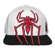 Spiderman 3D Spider Embroidered White Cap With Black Brim New Official