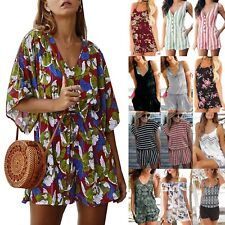 Women Boho Mini Playsuit Jumpsuits Summer Beach Loose Romper Casual Shorts Dress