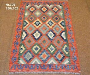 Handgewebter Orient Kelim Afghan Nr.300 - 150x102cm aus 100% Wolle